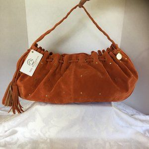 NWT Authentic Big Buddah Orange Faux Suede Satchel
